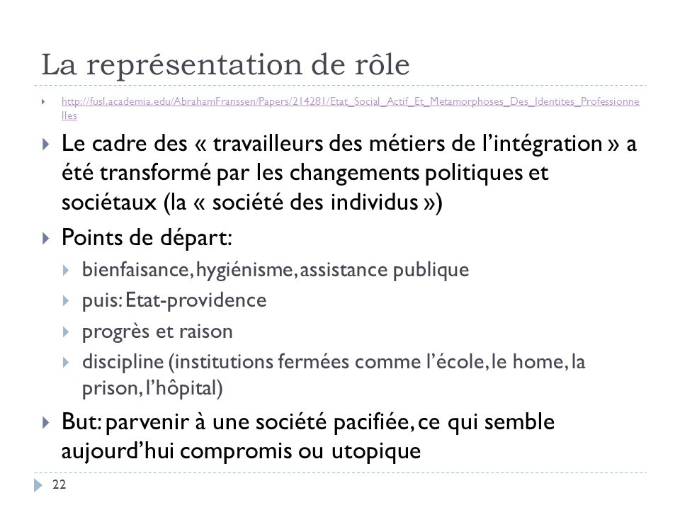 La représentation de rôle  http://fusl.academia.edu/AbrahamFranssen/Papers/214281/Etat_Social_Actif_Et_Metamorphoses_Des_Identites_Professionne lles