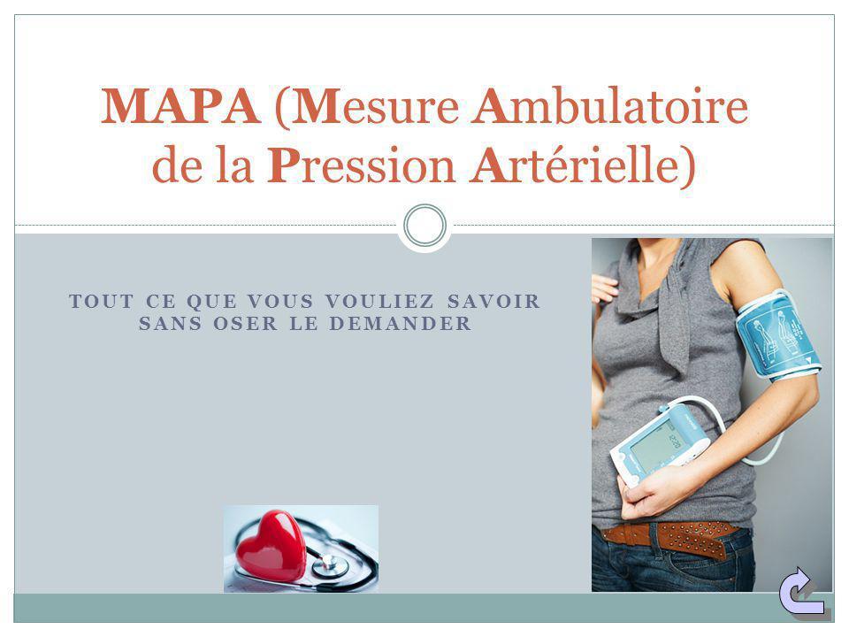 TOUT CE QUE VOUS VOULIEZ SAVOIR SANS OSER LE DEMANDER MAPA (Mesure Ambulatoire de la Pression Artérielle)