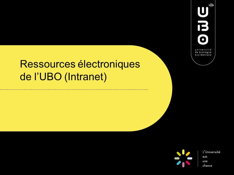 Ressources électroniques de l'UBO (Intranet)