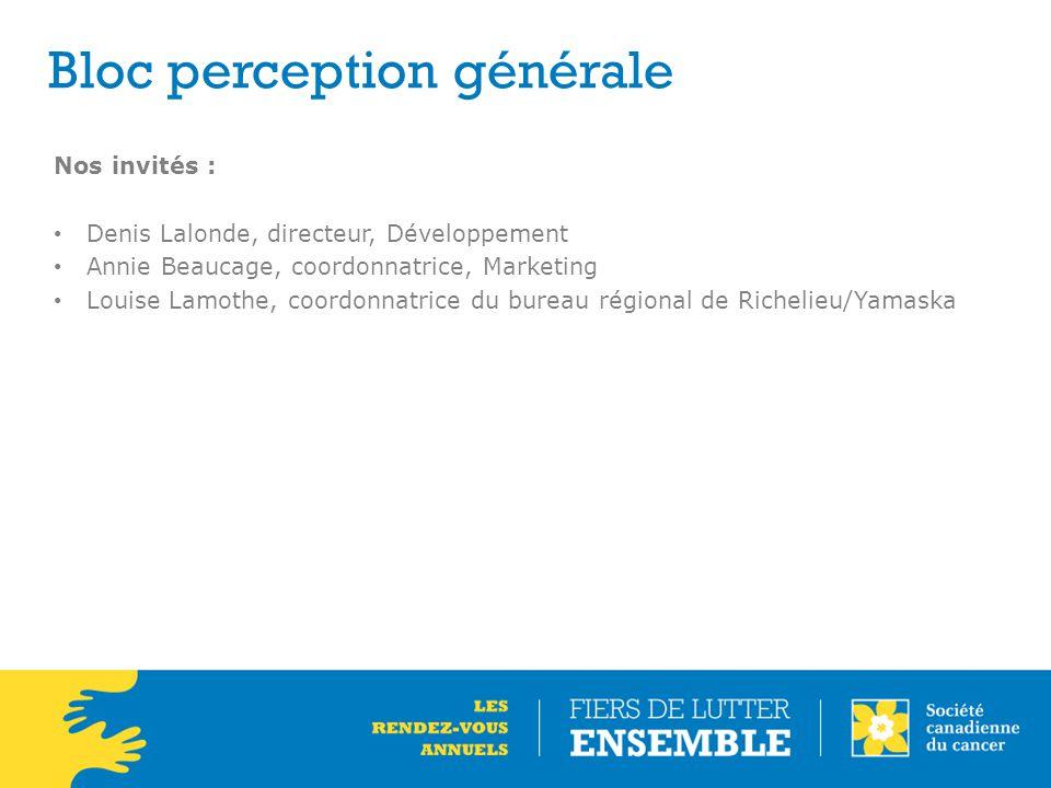 Bloc perception générale Nos invités : Denis Lalonde, directeur, Développement Annie Beaucage, coordonnatrice, Marketing Louise Lamothe, coordonnatrice du bureau régional de Richelieu/Yamaska