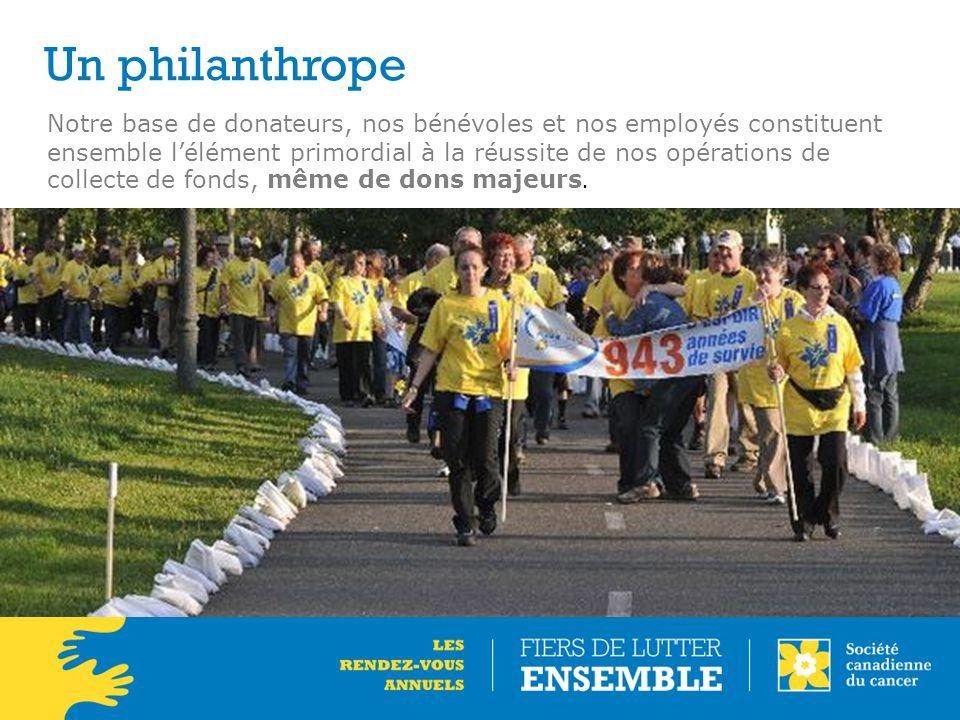 Un philanthrope Notre base de donateurs, nos bénévoles et nos employés constituent ensemble l'élément primordial à la réussite de nos opérations de collecte de fonds, même de dons majeurs.