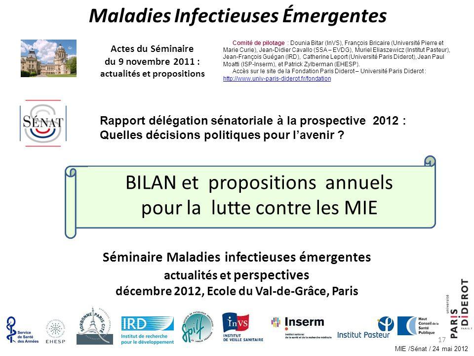 17 BILAN et propositions annuels pour la lutte contre les MIE Séminaire Maladies infectieuses émergentes actualités et perspectives décembre 2012, Eco