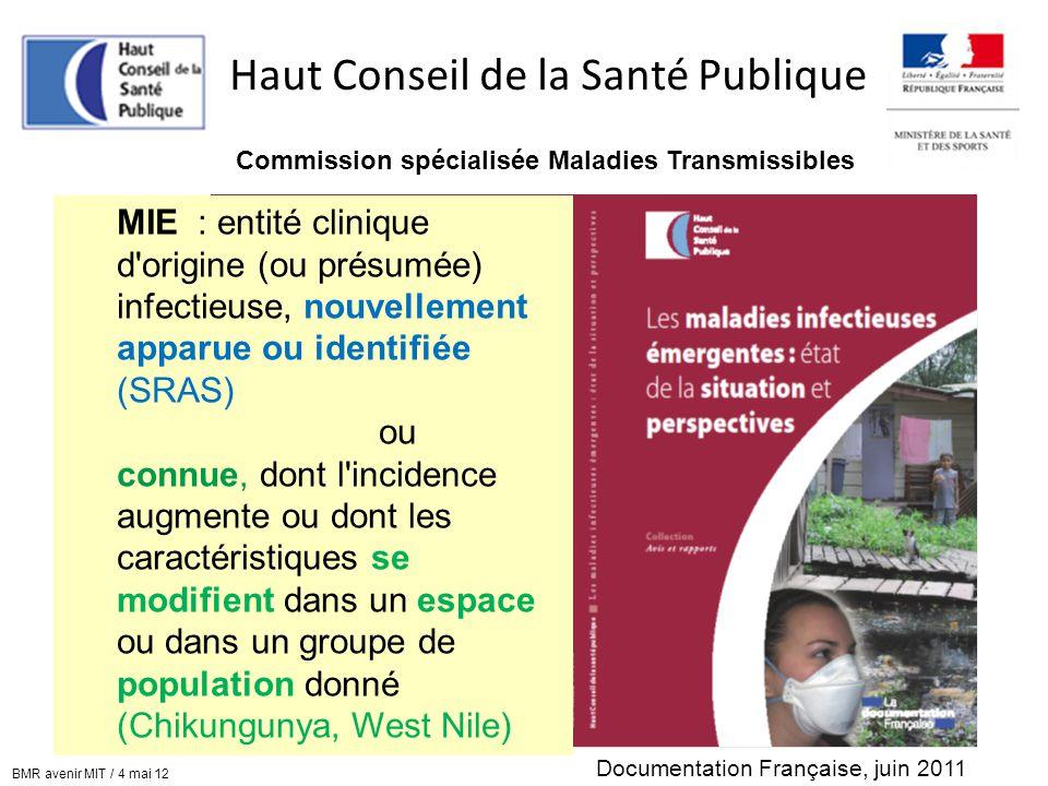 Haut Conseil de la Santé Publique Commission spécialisée Maladies Transmissibles Documentation Française, juin 2011 MIE : entité clinique d'origine (o