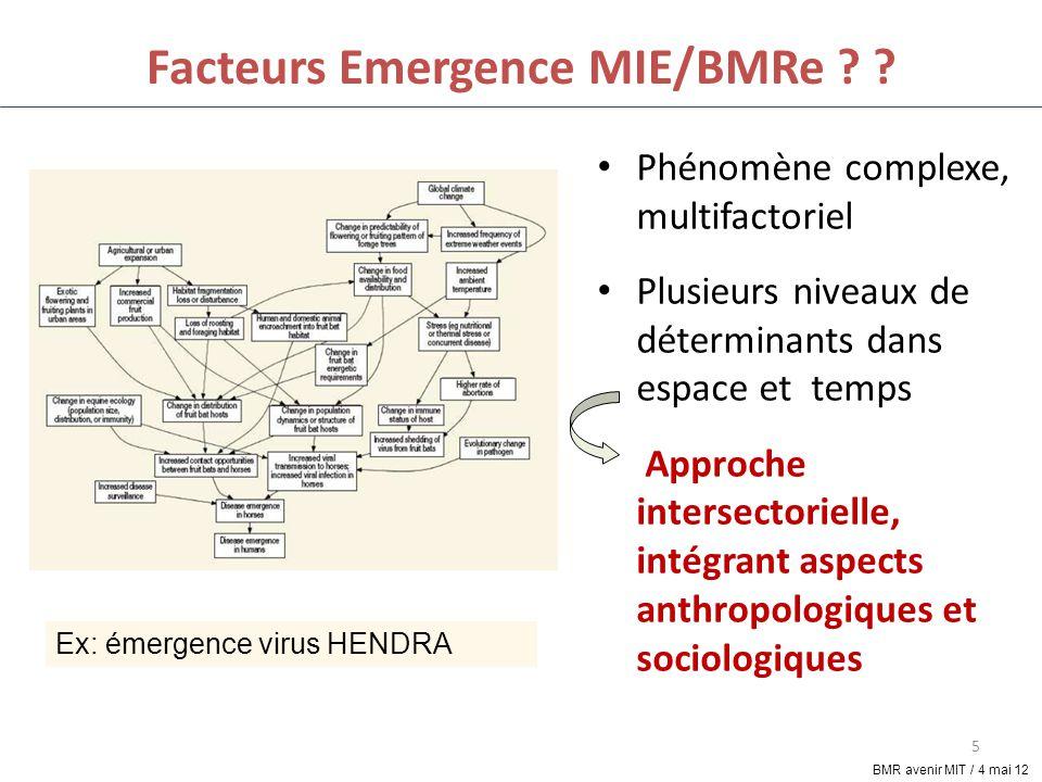 5 Facteurs Emergence MIE/BMRe ? ? Phénomène complexe, multifactoriel Plusieurs niveaux de déterminants dans espace et temps Approche intersectorielle,