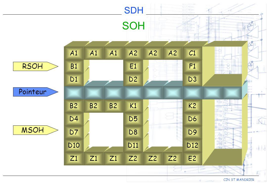 CIN ST MANDRIER SDH Z1 D10 D7 D4 B2 D1 B1 A1 B2 Z1 Z2 D11 D8 D5 K1 A1 D2 E1 A2 SOH Pointeur Z2 E2 D12 D9 D6 K2 D3 F1 C1 RSOH MSOH