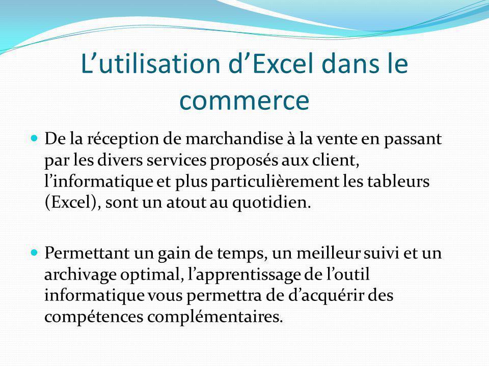 L'utilisation d'Excel dans le commerce De la réception de marchandise à la vente en passant par les divers services proposés aux client, l'informatiqu