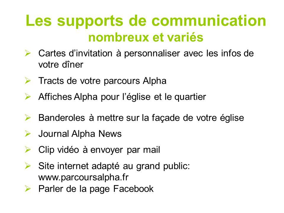 Les supports de communication nombreux et variés  Cartes d'invitation à personnaliser avec les infos de votre dîner  Tracts de votre parcours Alpha