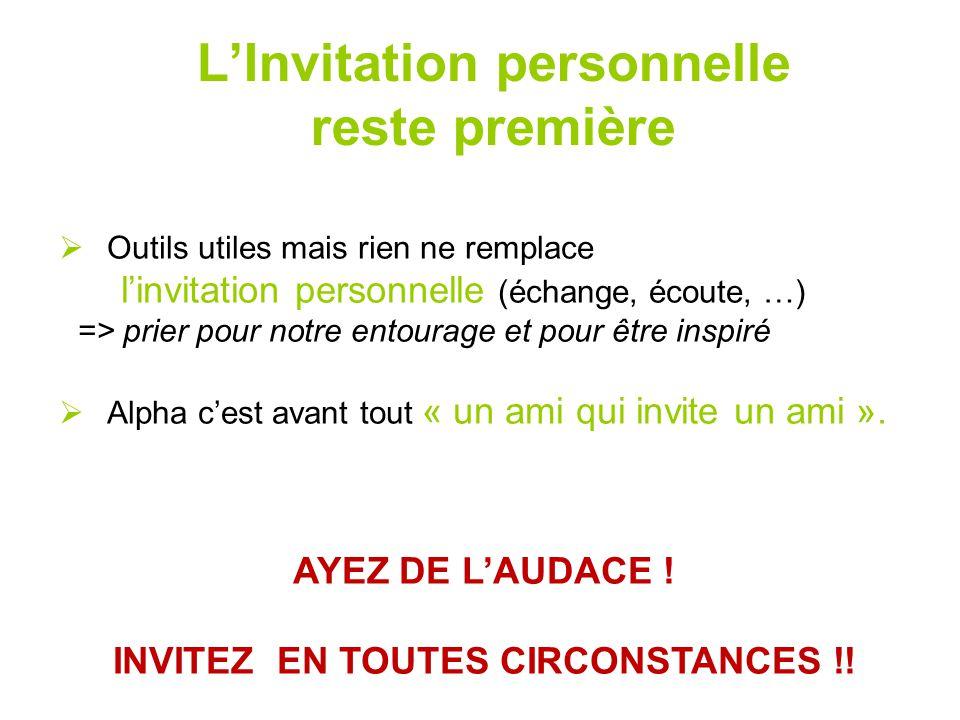 L'Invitation personnelle reste première  Outils utiles mais rien ne remplace l'invitation personnelle (échange, écoute, …) => prier pour notre entour