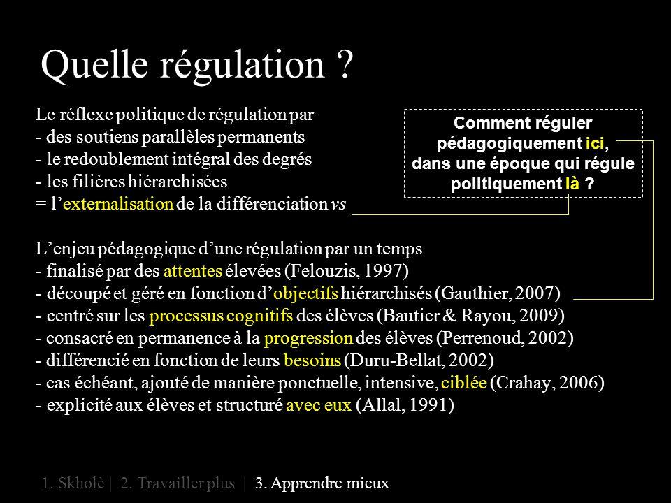 Quelle régulation . 1. Skholè | 2. Travailler plus | 3.