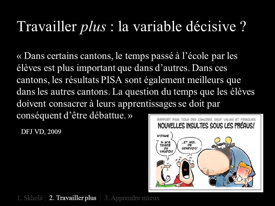 Travailler plus : la variable décisive .