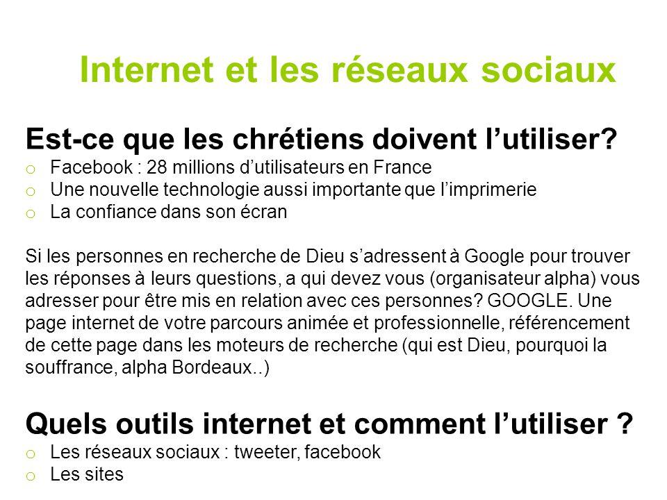Internet et les réseaux sociaux Est-ce que les chrétiens doivent l'utiliser? o Facebook : 28 millions d'utilisateurs en France o Une nouvelle technolo