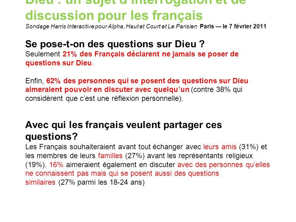 Dieu : un sujet d'interrogation et de discussion pour les français Sondage Harris Interactive pour Alpha, Haut et Court et Le Parisien Paris — le 7 fé