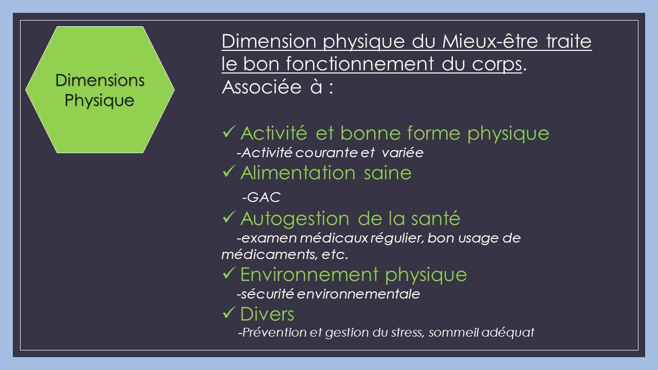 Dimensions Physique Dimension physique du Mieux-être traite le bon fonctionnement du corps. Associée à : Activité et bonne forme physique -Activité co