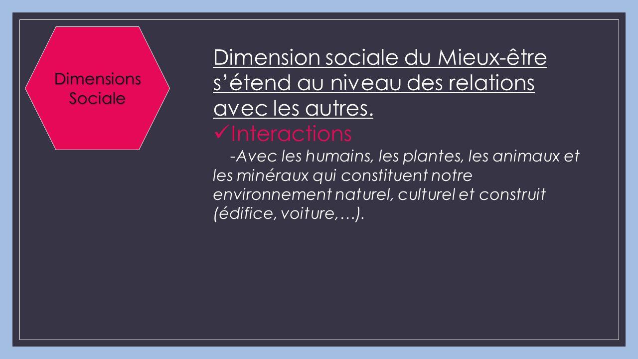 Dimension sociale du Mieux-être s'étend au niveau des relations avec les autres. Interactions -Avec les humains, les plantes, les animaux et les minér