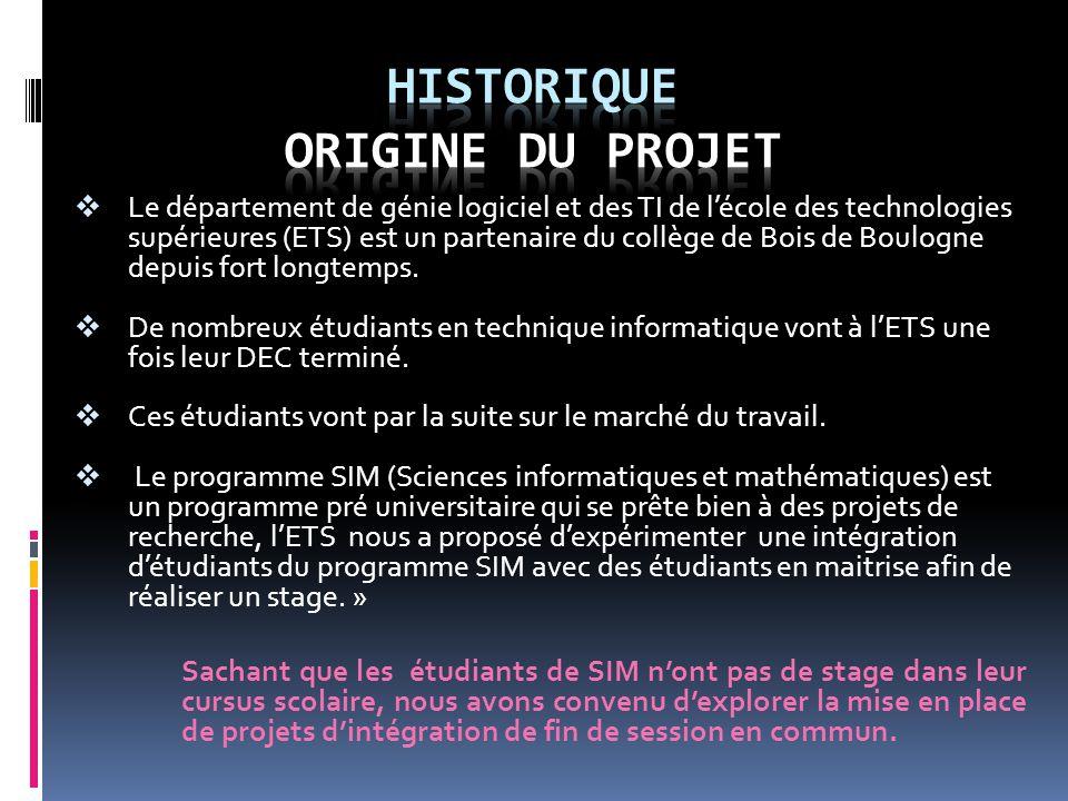  Le département de génie logiciel et des TI de l'école des technologies supérieures (ETS) est un partenaire du collège de Bois de Boulogne depuis fort longtemps.