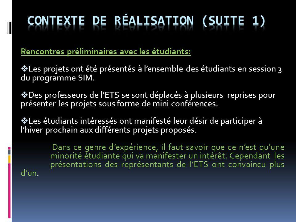 Rencontres préliminaires avec les étudiants:  Les projets ont été présentés à l'ensemble des étudiants en session 3 du programme SIM.  Des professeu
