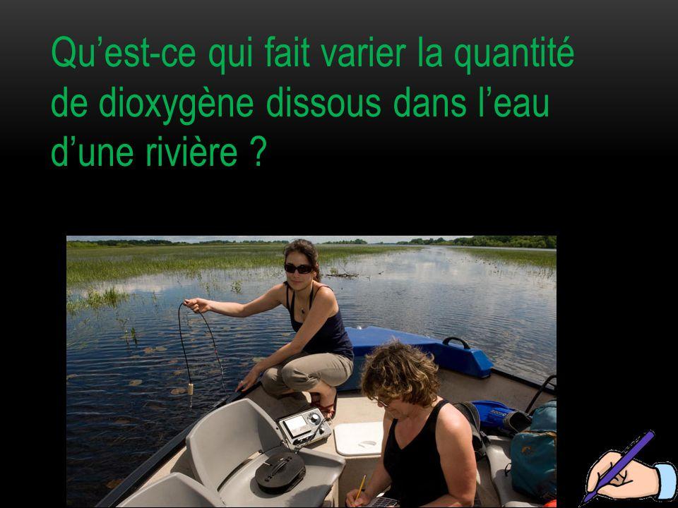 Qu'est-ce qui fait varier la quantité de dioxygène dissous dans l'eau d'une rivière ?