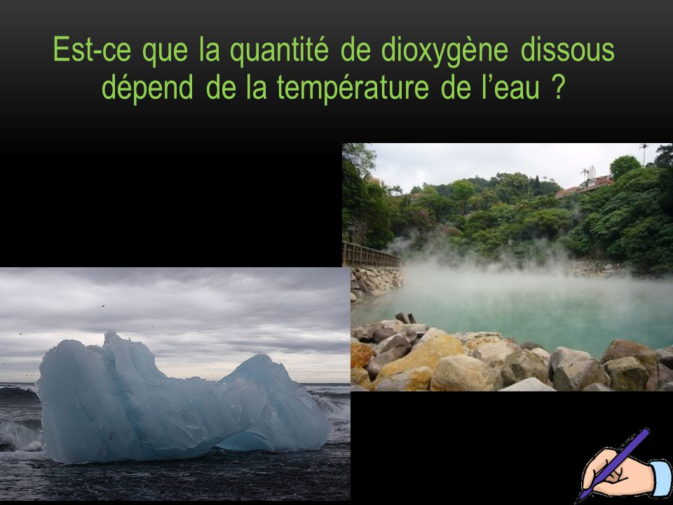 Est-ce que la quantité de dioxygène dissous dépend de la température de l'eau ?