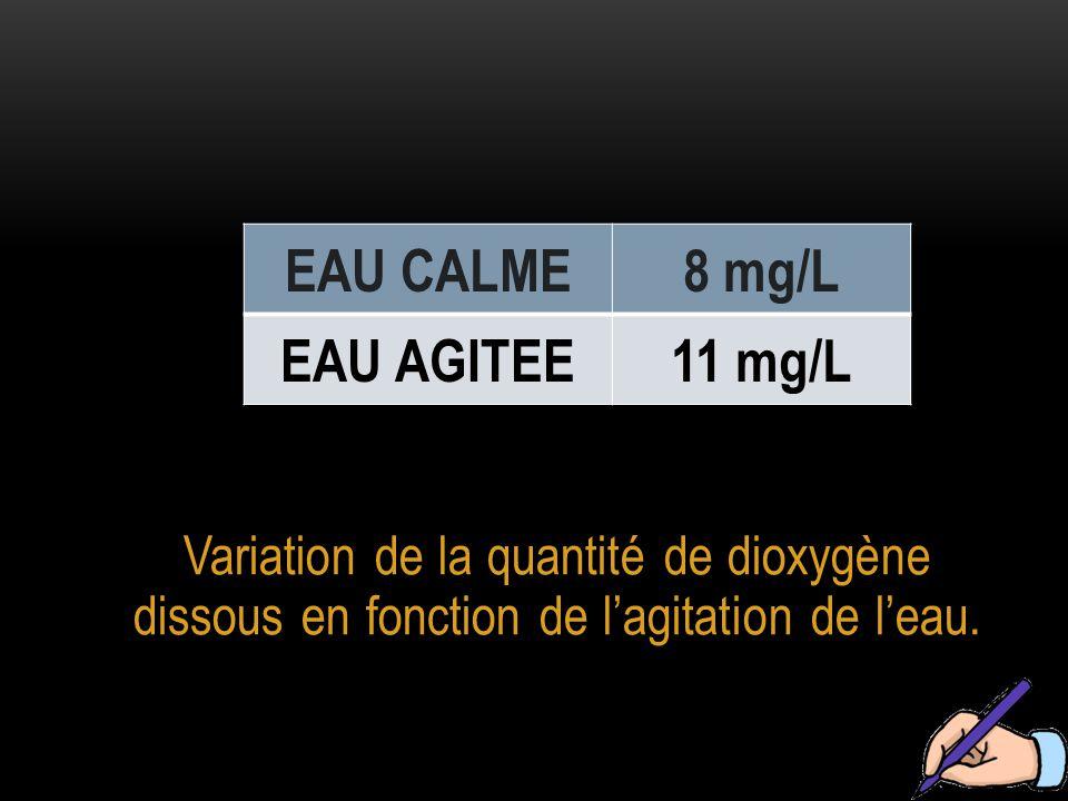 Variation de la quantité de dioxygène dissous en fonction de l'agitation de l'eau.