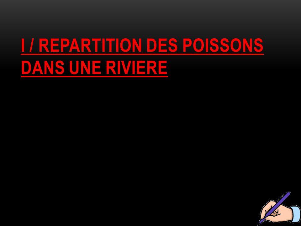 I / REPARTITION DES POISSONS DANS UNE RIVIERE