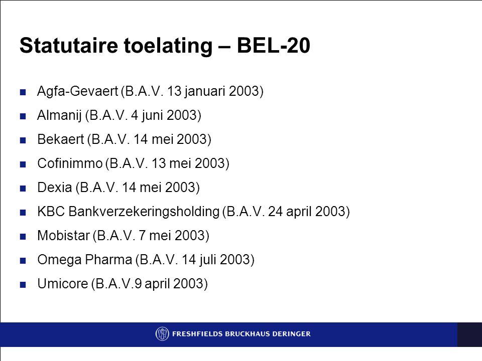 Beperking van bevoegdheid – BEL-20 Agfa-Gevaert (Raad van bestuur 29 april 2003) Omega Pharma (Raad van bestuur 12 augustus 2003) Umicore (Raad van bestuur 19 augustus 2003)