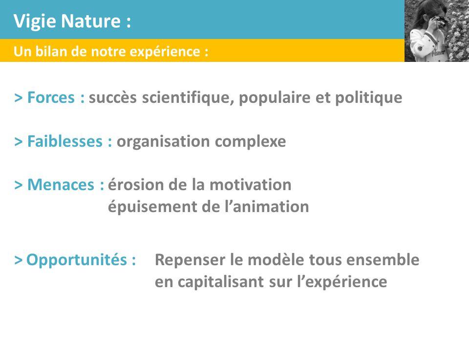 Un bilan de notre expérience : > Forces : succès scientifique, populaire et politique > Faiblesses : organisation complexe > Menaces :érosion de la mo