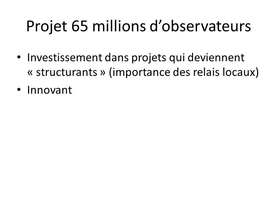Investissement dans projets qui deviennent « structurants » (importance des relais locaux) Innovant Projet 65 millions d'observateurs