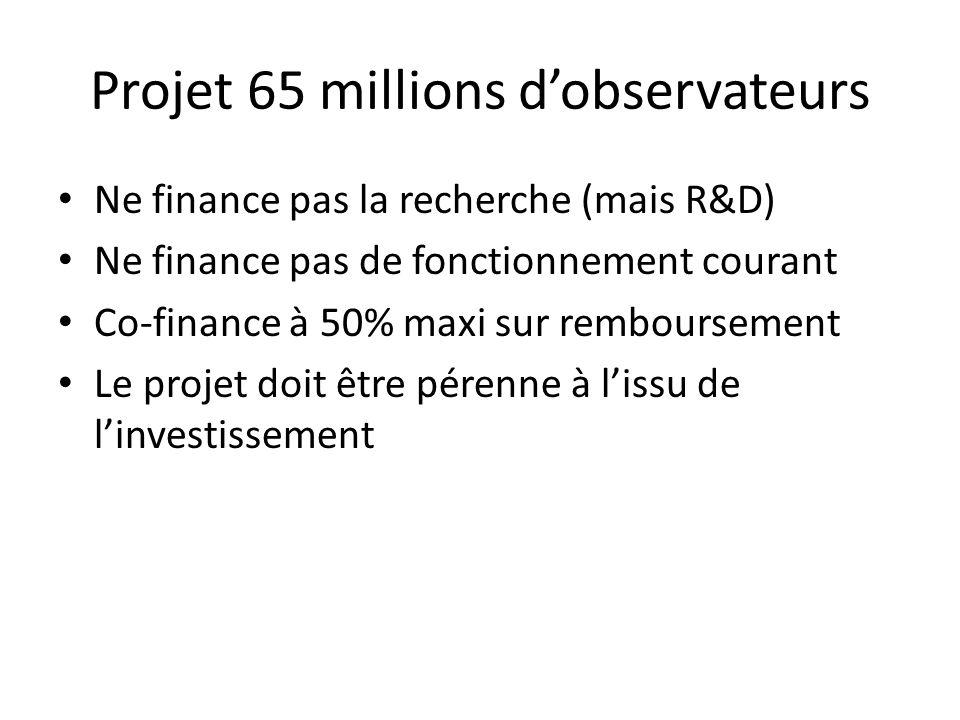 Ne finance pas la recherche (mais R&D) Ne finance pas de fonctionnement courant Co-finance à 50% maxi sur remboursement Le projet doit être pérenne à