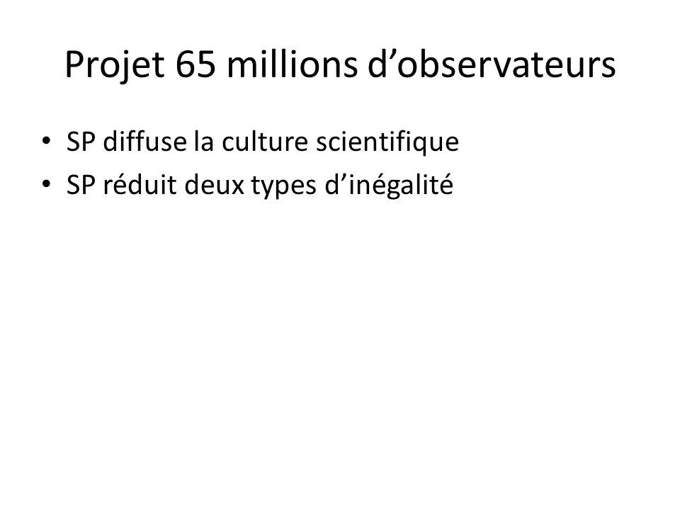 SP diffuse la culture scientifique SP réduit deux types d'inégalité Projet 65 millions d'observateurs