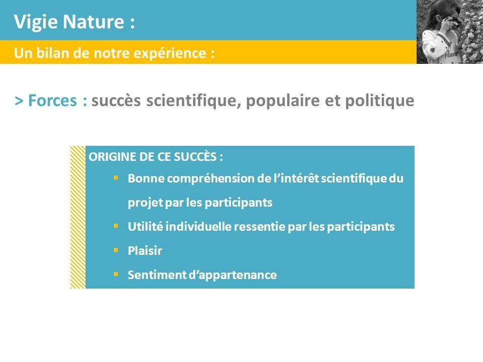 Un bilan de notre expérience : > Forces : succès scientifique, populaire et politique ORIGINE DE CE SUCCÈS :  Bonne compréhension de l'intérêt scient