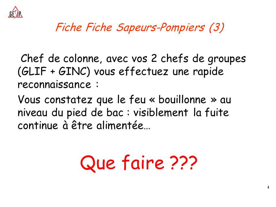 5 Fiche Sapeurs-Pompiers (4) RAPPEL 1 GLIF : 2 x 2000 L/min avec 40 min d'autonomie en émulseur Soit : 5000 L d'émulseur 3% - Tx Exp.:2 L/(m².min) 2000 m de tuyaux de 110.
