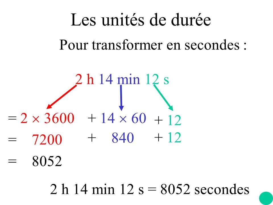 Pour transformer en secondes : 2 h 14 min 12 s = 2  3600+ 14  60 + 12 = 7200 + 840 + 12 = 8052 2 h 14 min 12 s = 8052 secondes Les unités de durée