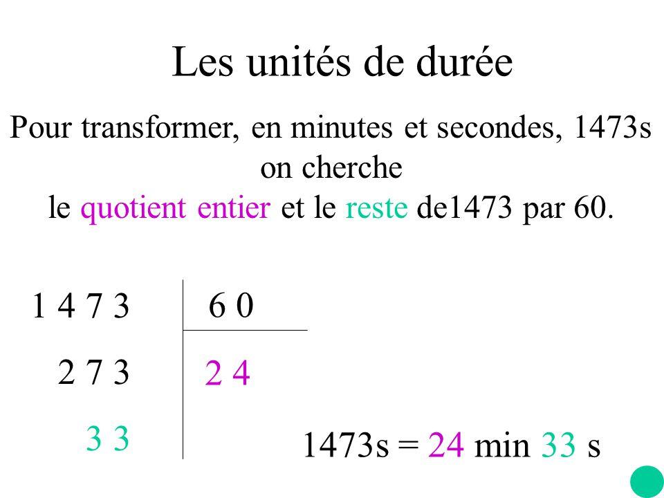 Pour transformer, en minutes et secondes, 1473s on cherche le quotient entier et le reste de1473 par 60.