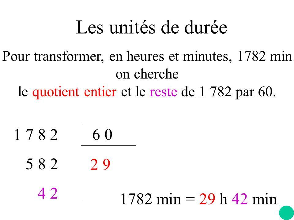 Les unités de durée Pour transformer, en heures et minutes, 1782 min on cherche le quotient entier et le reste de 1 782 par 60.
