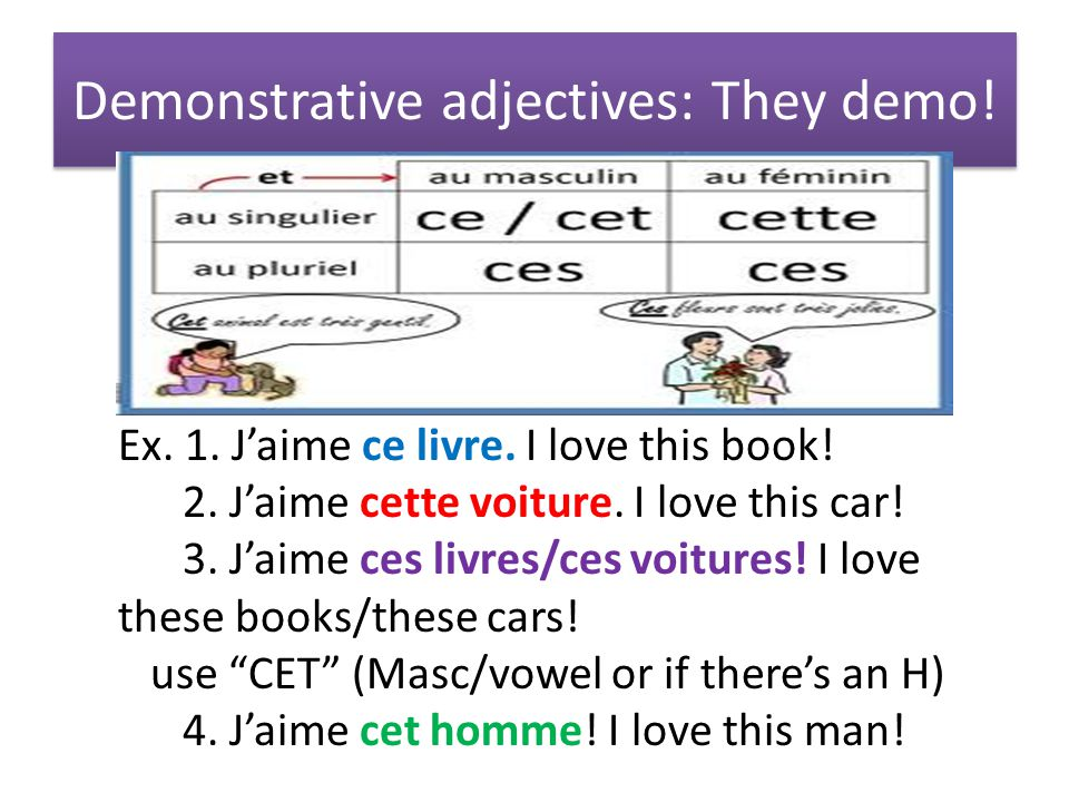Demonstrative adjectives: They demo. Ex. 1. J'aime ce livre.