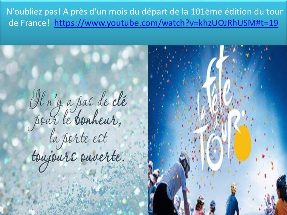 N'oubliez pas! A près d'un mois du départ de la 101ème édition du tour de France! https://www.youtube.com/watch?v=khzUOJRhUSM#t=19https://www.youtube.