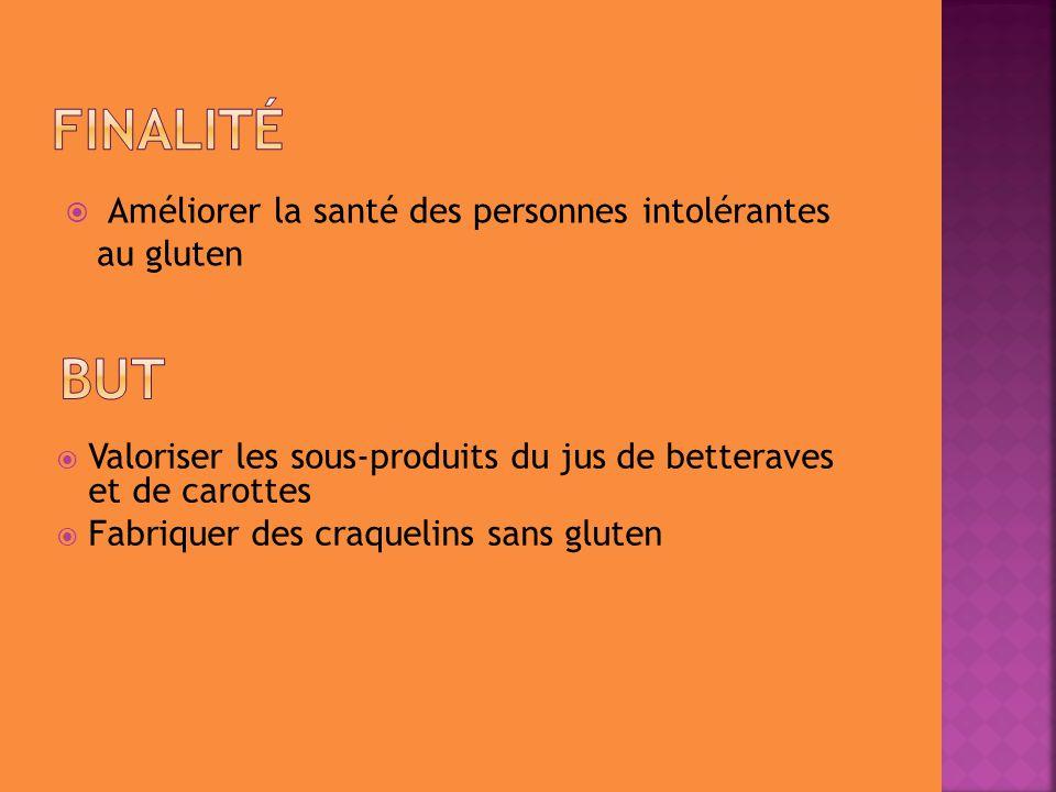  Valoriser les sous-produits du jus de betteraves et de carottes  Fabriquer des craquelins sans gluten  Améliorer la santé des personnes intolérant