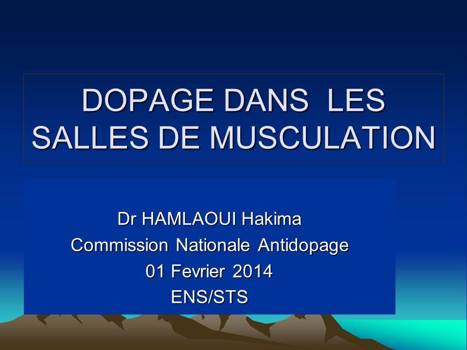 DOPAGE DANS LES SALLES DE MUSCULATION Dr HAMLAOUI Hakima Commission Nationale Antidopage 01 Fevrier 2014 ENS/STS