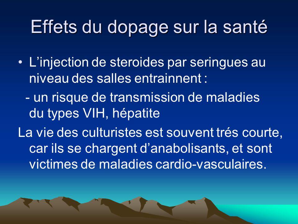 Effets du dopage sur la santé L'injection de steroides par seringues au niveau des salles entrainnent : - un risque de transmission de maladies du typ