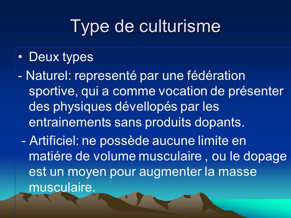 Type de culturisme Deux types - Naturel: representé par une fédération sportive, qui a comme vocation de présenter des physiques dévellopés par les en