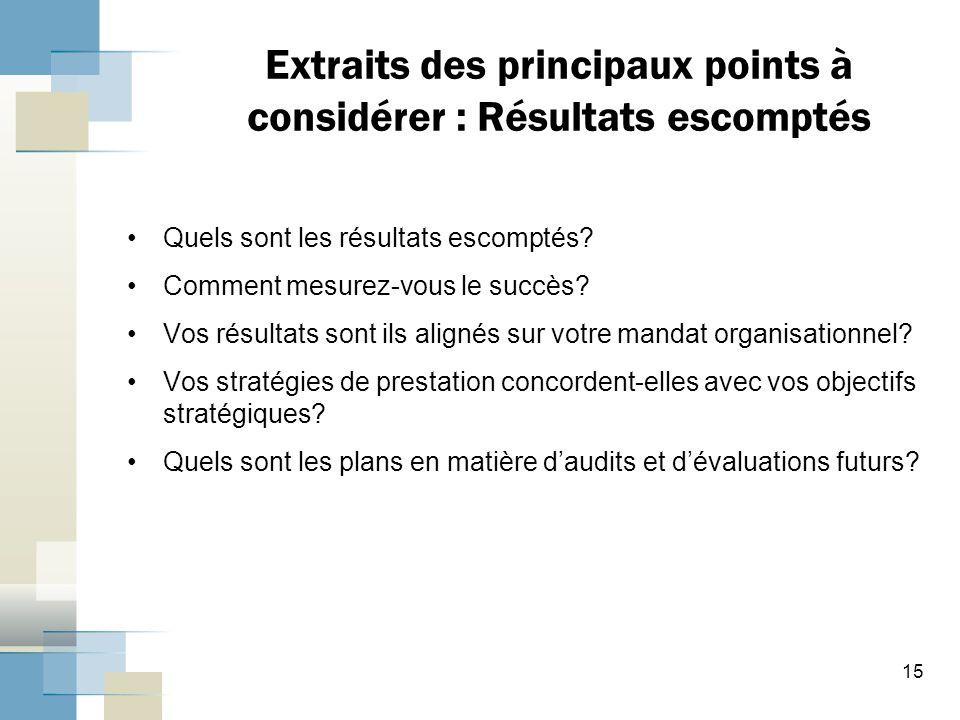 Extraits des principaux points à considérer : Résultats escomptés Quels sont les résultats escomptés.
