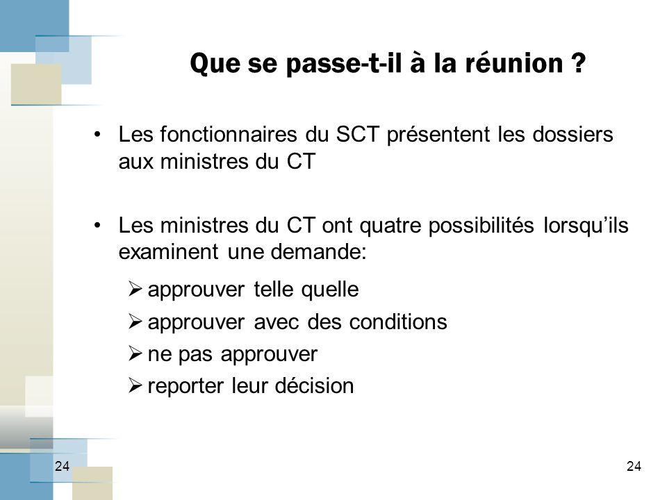 24 Que se passe-t-il à la réunion ? Les fonctionnaires du SCT présentent les dossiers aux ministres du CT Les ministres du CT ont quatre possibilités
