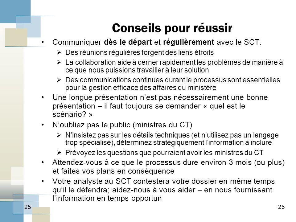 25 Conseils pour réussir Communiquer dès le départ et régulièrement avec le SCT:  Des réunions régulières forgent des liens étroits  La collaboratio