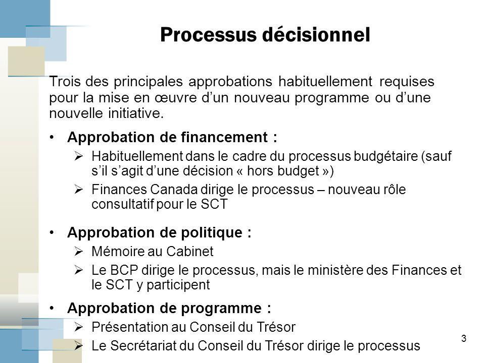 3 Trois des principales approbations habituellement requises pour la mise en œuvre d'un nouveau programme ou d'une nouvelle initiative.