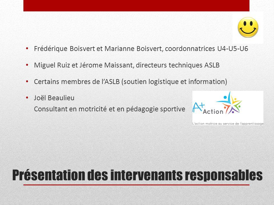 Présentation des intervenants responsables Frédérique Boisvert et Marianne Boisvert, coordonnatrices U4-U5-U6 Miguel Ruiz et Jérome Maissant, directeu