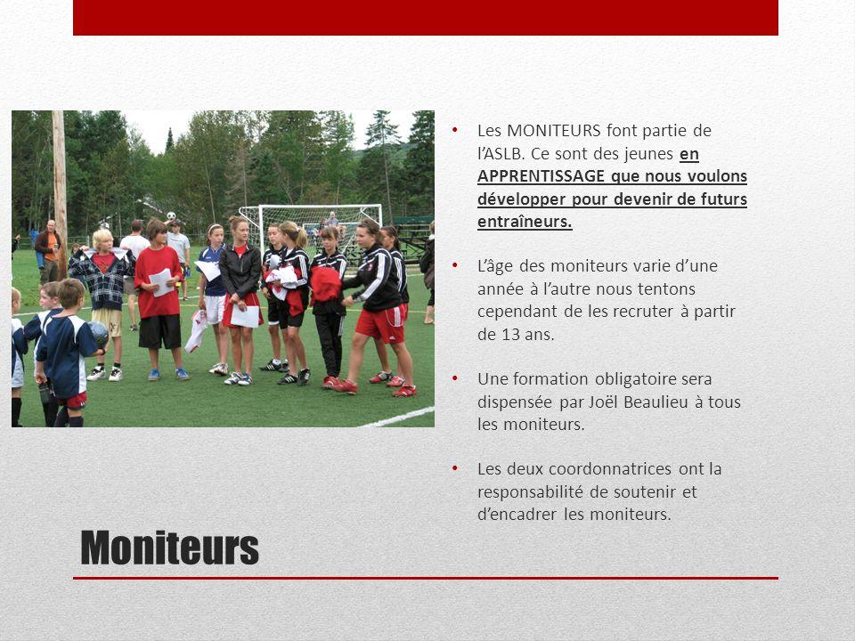Moniteurs Les MONITEURS font partie de l'ASLB. Ce sont des jeunes en APPRENTISSAGE que nous voulons développer pour devenir de futurs entraîneurs. L'â