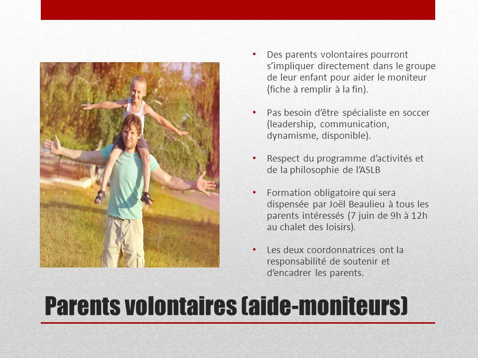 Parents volontaires (aide-moniteurs) Des parents volontaires pourront s'impliquer directement dans le groupe de leur enfant pour aider le moniteur (fi
