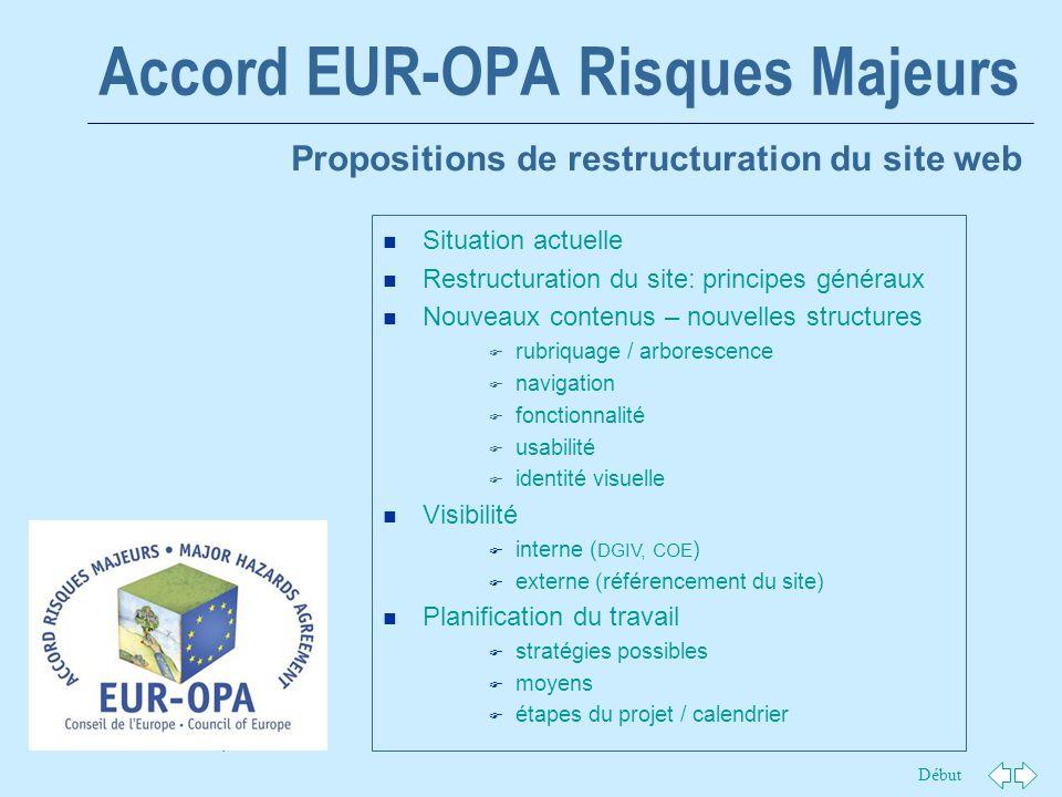 Début 1 Accord EUR-OPA Risques Majeurs Propositions de restructuration du site web n Situation actuelle n Restructuration du site: principes généraux