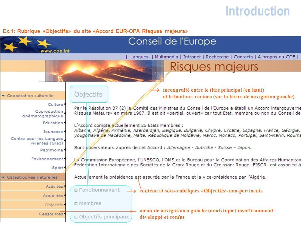 Introduction Ex.1: Rubrique «Objectifs» du site «Accord EUR-OPA Risques majeurs» contenu et sous-rubriques «Objectifs» non-pertinents incongruité entr