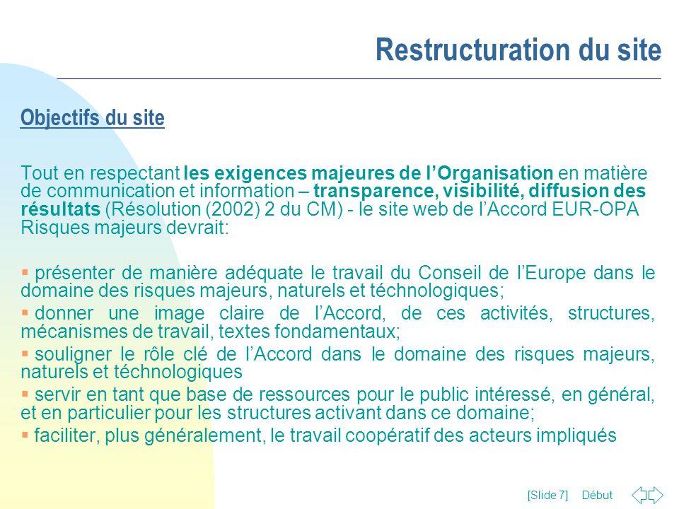 Début [Slide 7] Restructuration du site Objectifs du site Tout en respectant les exigences majeures de l'Organisation en matière de communication et i